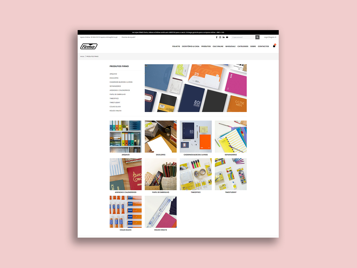 página de categoria loja online Firmo